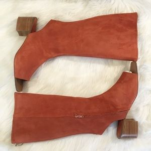 BURNT ORANGE REAL LEATHER SUEDE BOOT SANDALS